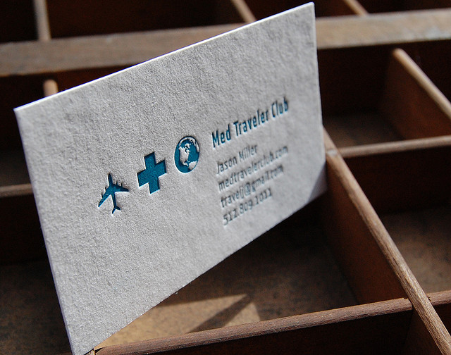 Med Travel - Letterpress business card