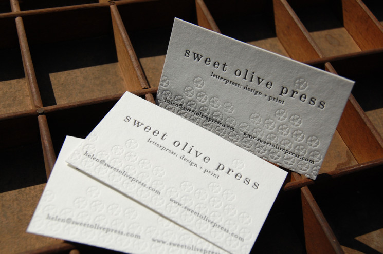 sweet olive - letterpress business cards