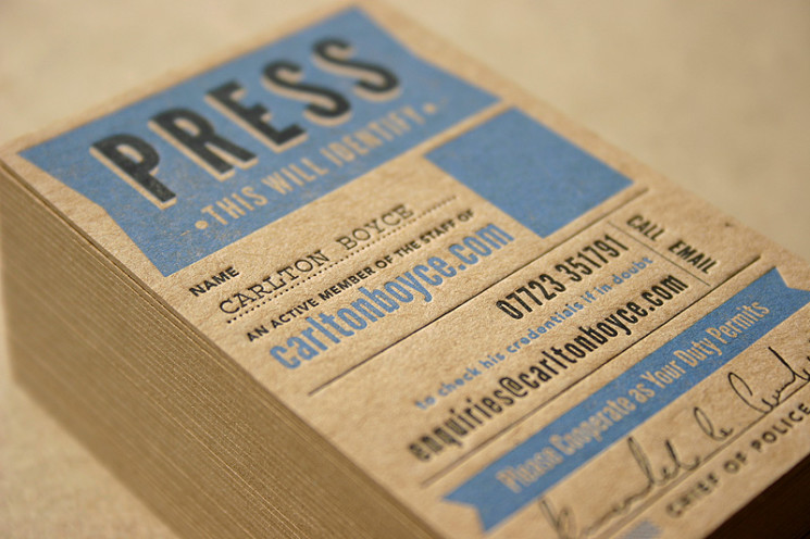 Press Pass - letterpress business card