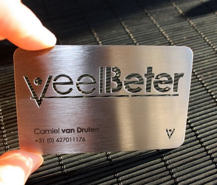 veel beter - metal business cards