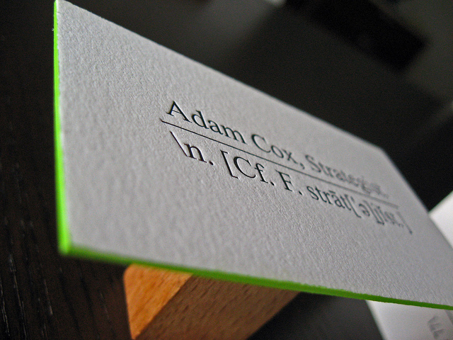 adam cox - letterpress business card