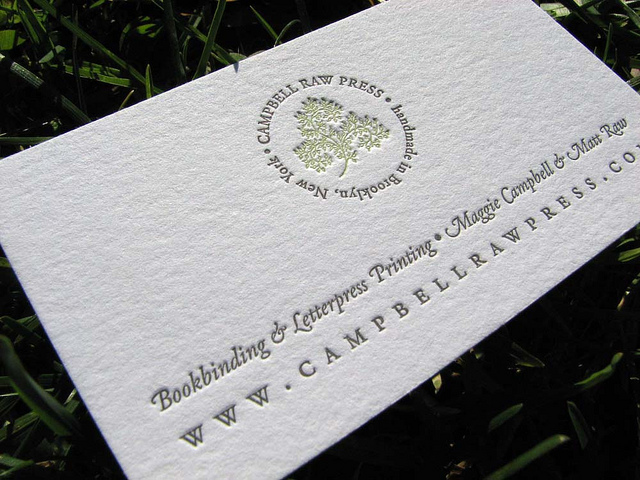 campbell raw press - letterpress business cards