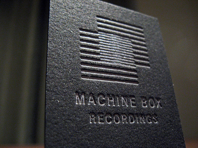 machine box - letterpress metalic business card