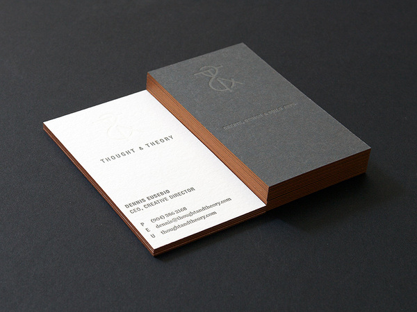 Thought & Theory -  duplexed letterpress business cards