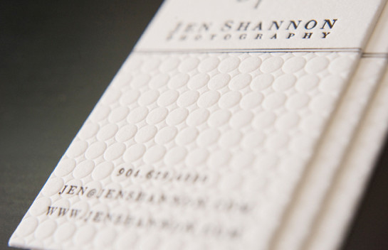 Jen Shannon's - blind deboss business card