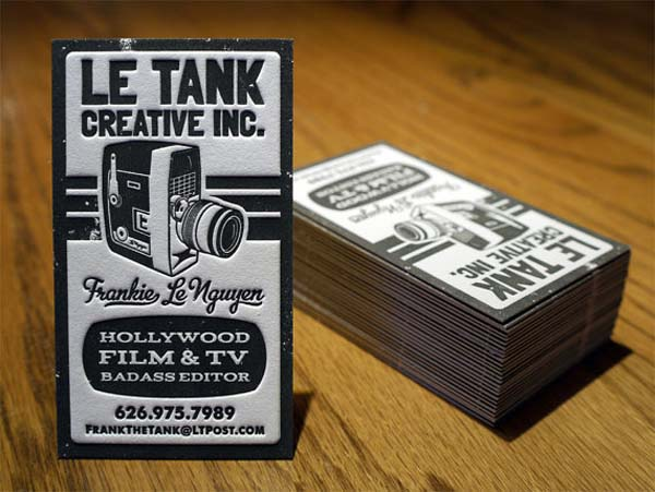 Le Tank - letterpress business cards