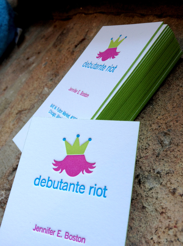 Debutante - edge painted business cards
