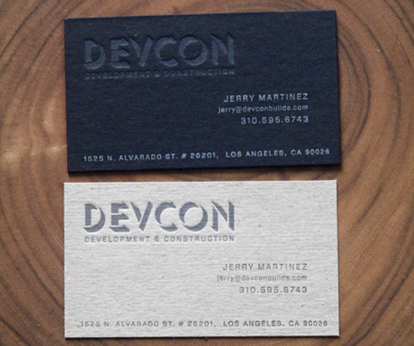 Devcon Construction - chipboard business cards