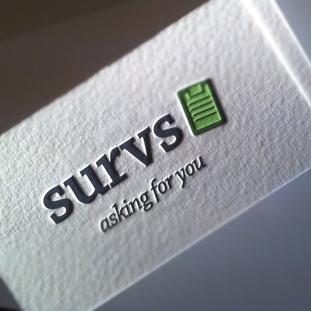 Survs - letterpress business cards