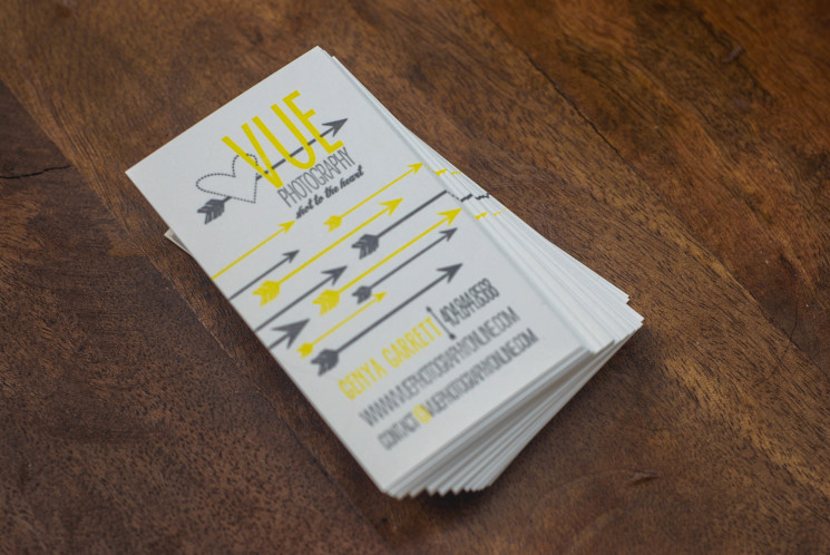 Vue Photography - letterpress business card