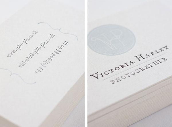 Victoria Harley - letterpress business cards