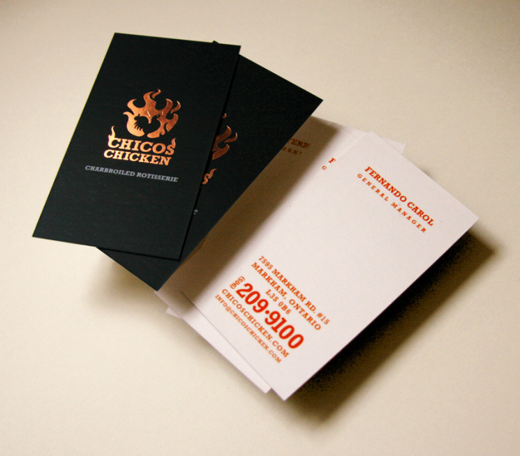 Chicos Chicken - foil stamp business cards