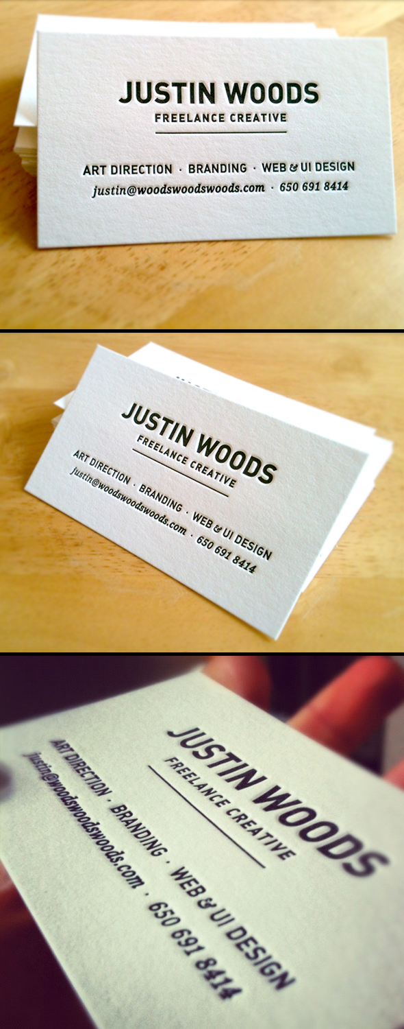 Justin Woods - letterpress business cards