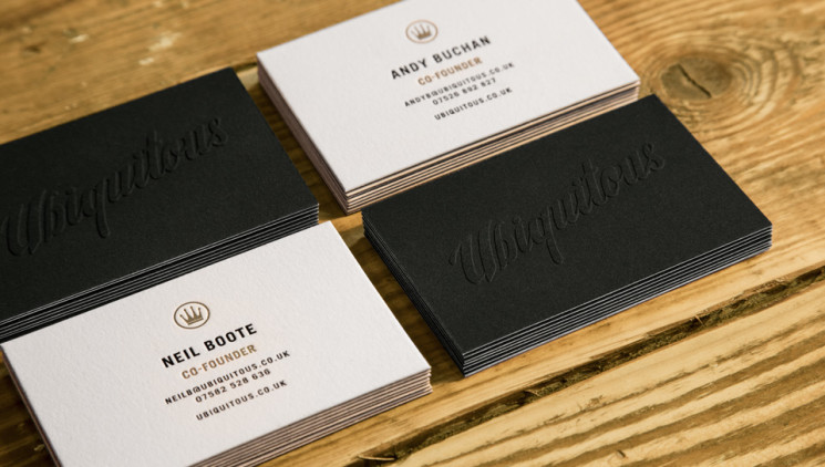 Ubiquitous - laser etched business cards