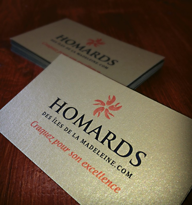 Homards - gold business cards