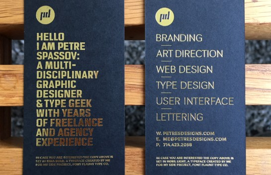 Petre Spassov - gold foil business cards