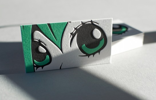 Manga Face - letterpress business cards