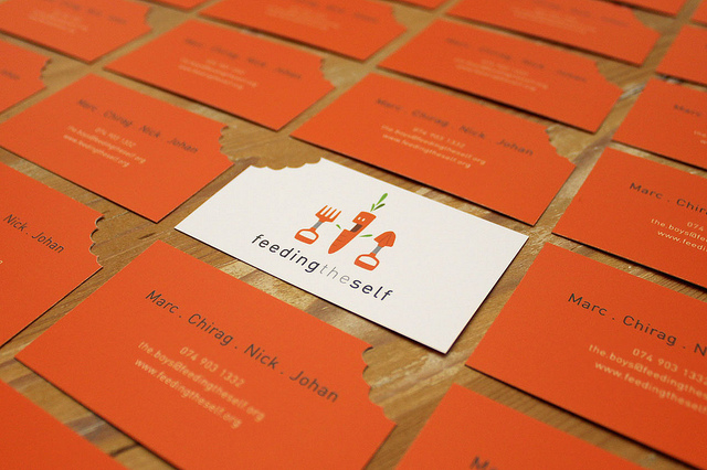 Feeding The Self - die-cut business cards
