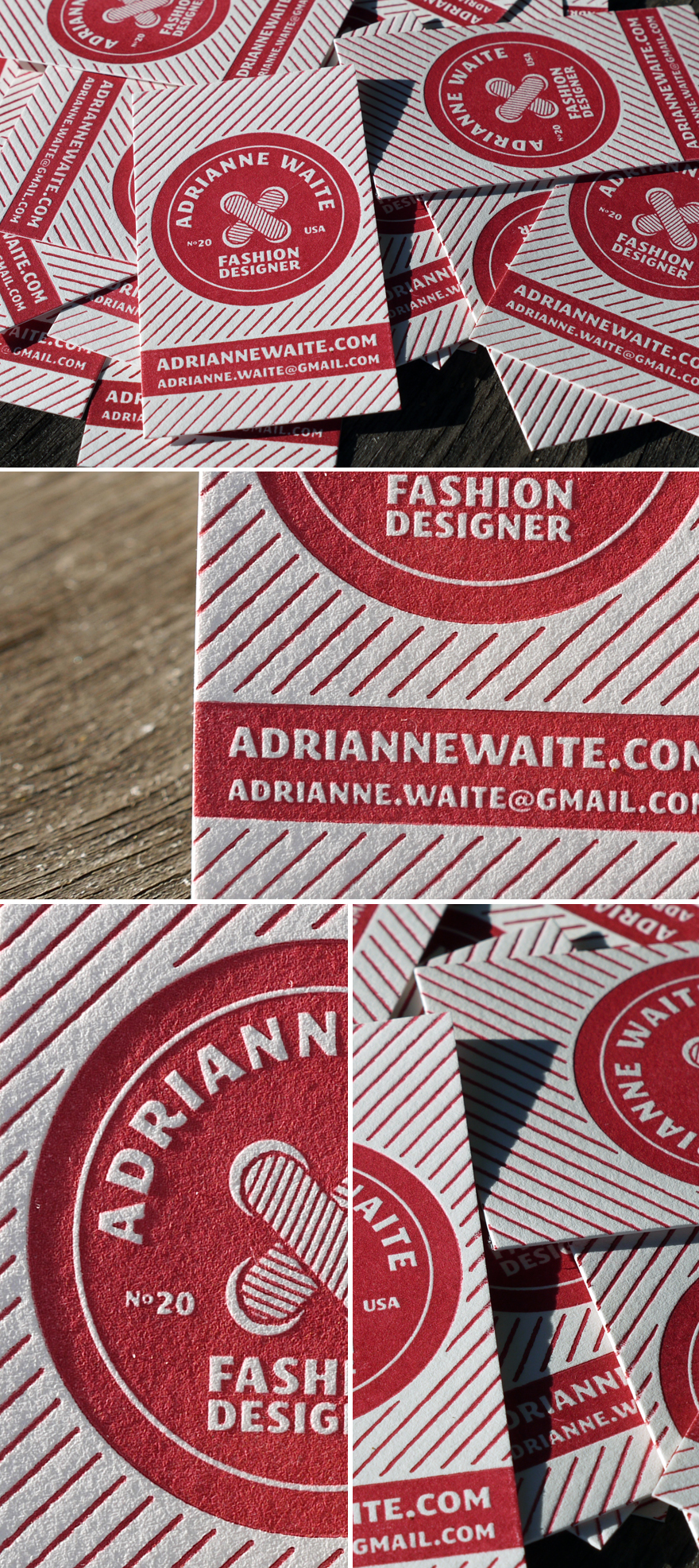Adrianne Waite - letterpress business card
