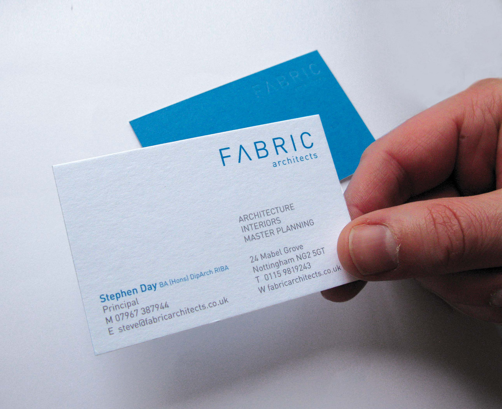 Fabric Architects - clear foil business cards