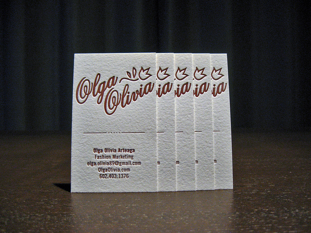 Olga Olivia - crane's lettra business card
