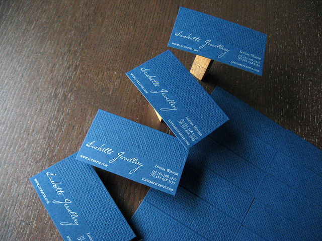 Luckette Jewellery - letterpress business card