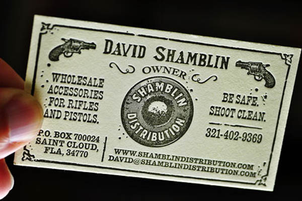David Shamblin - letterpress business cards