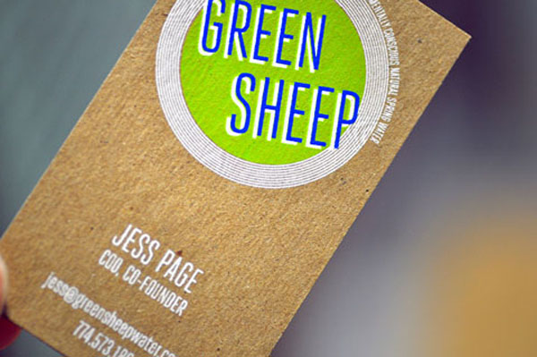 Green Sheep - chipboad business cards