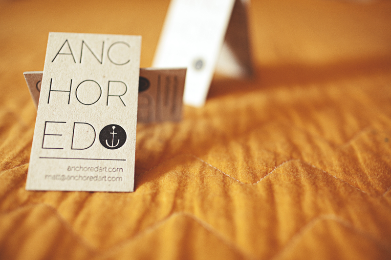 Anchored - letterpress business card