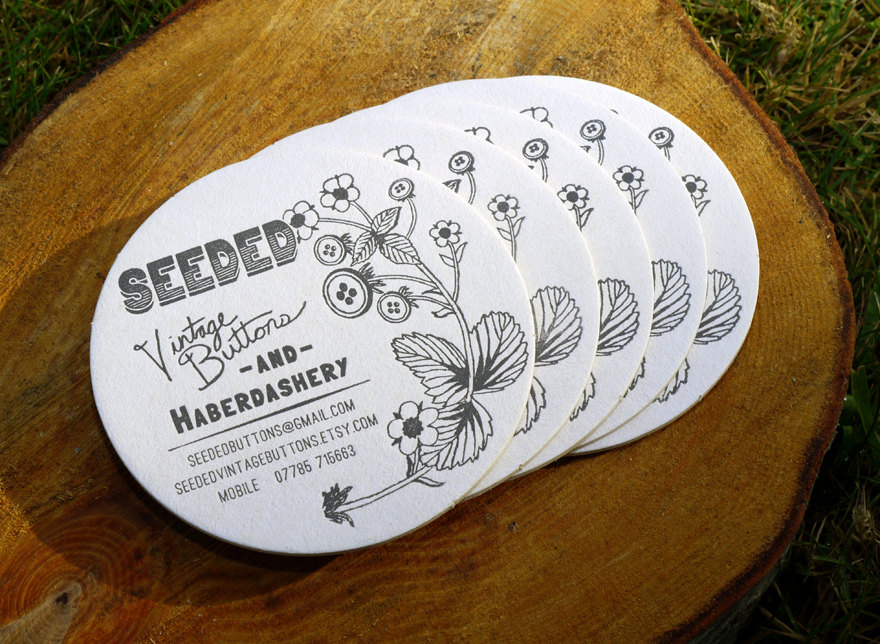 Seeded - round business cards