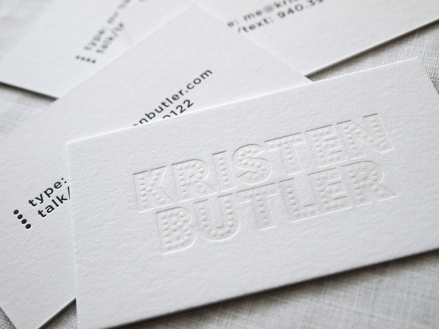 Kristen Butler - letterpress business card