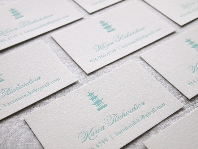 Karen Richardson - letterpress business cards