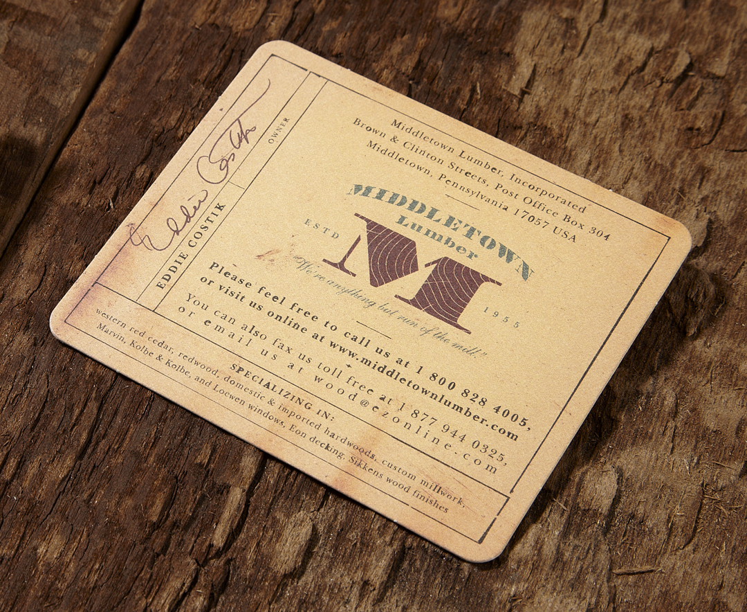 Middletown Lumber - thick business card