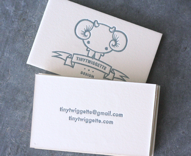 Tiny Twiggette - letterpress business cards