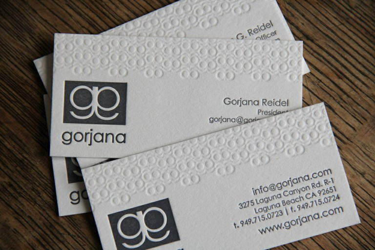 Gorjana - letterpress business cards