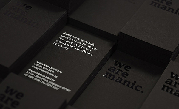 We Are Manic - foil business cards