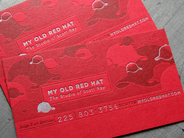 My Old Red Hat - letterpress business cards