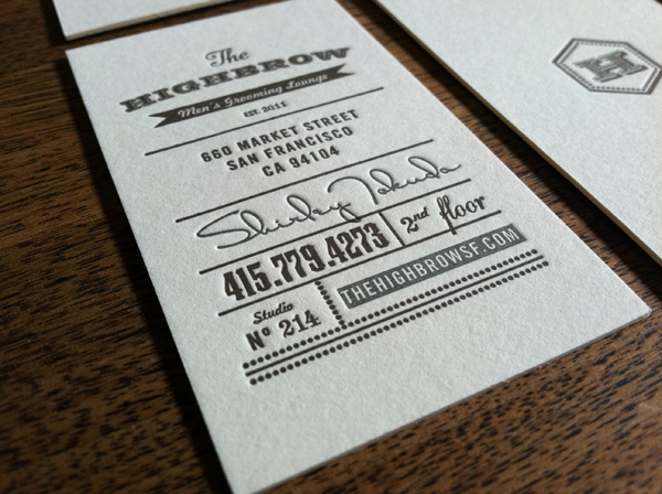 The Highbrow - letterpress business cards