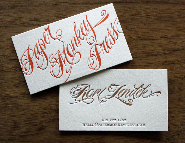 PMP - letterpress business cards