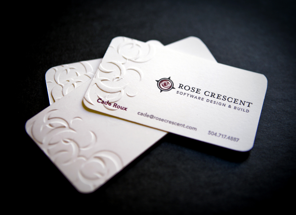 Rose Crescent - letterpress business cards