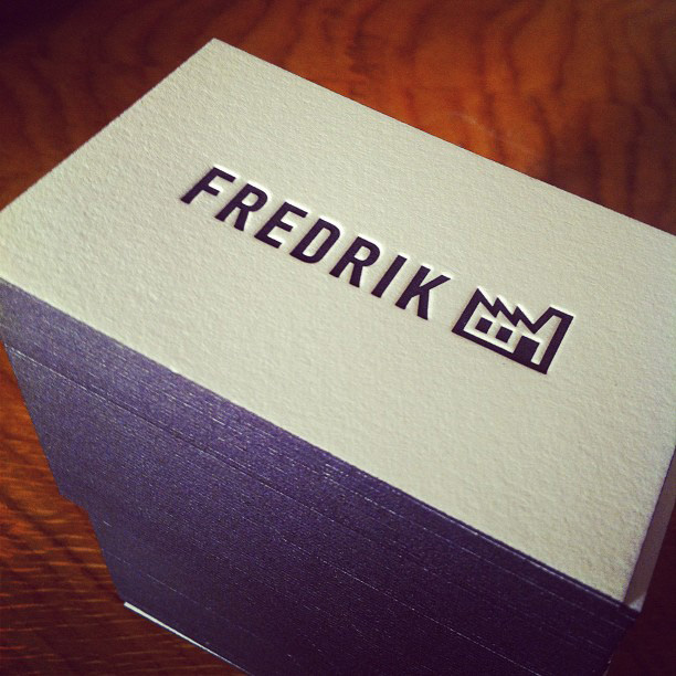 Fredrik - edge painted business cards