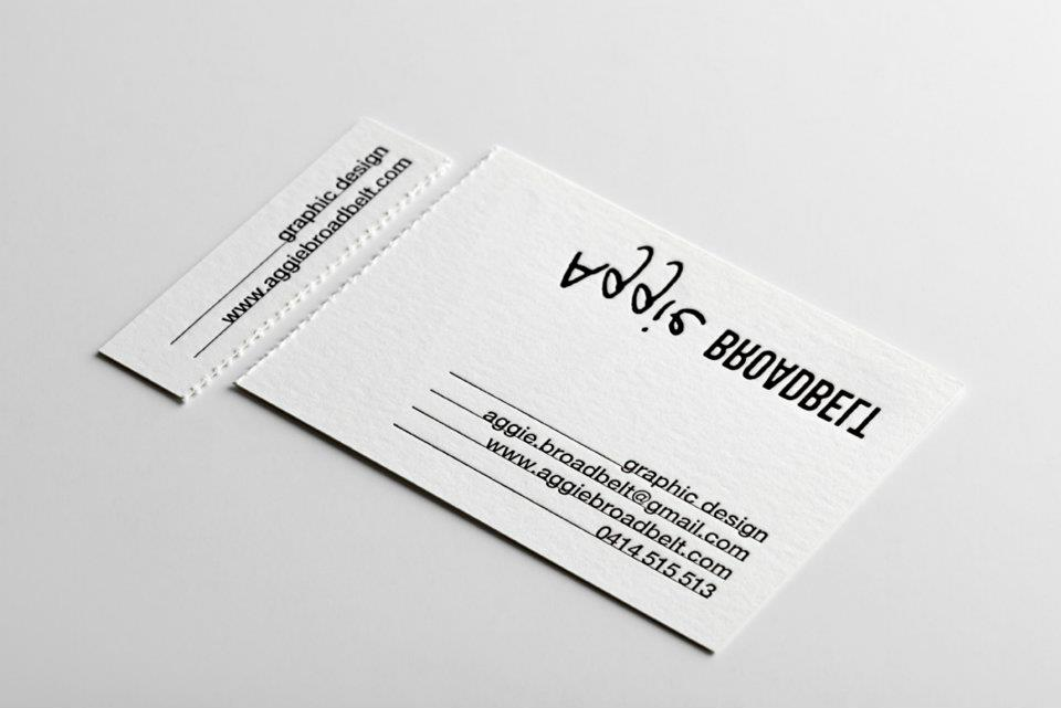 Aggie Broadbel - letterpress business cards