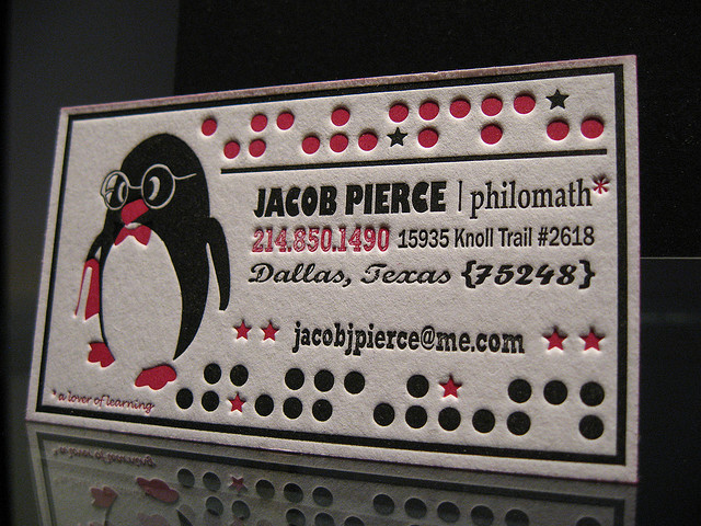 Jacob Pierce - edge painted business cards
