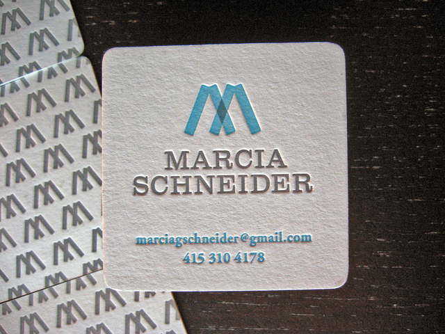 Marcia Schneider - die-cut business cards
