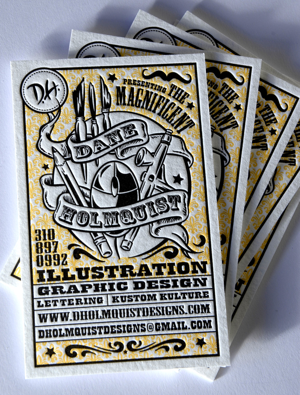 Dane Holmquist - letterpress business cards