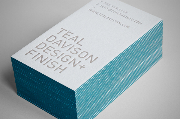 Teal Davison - edge painted business cards
