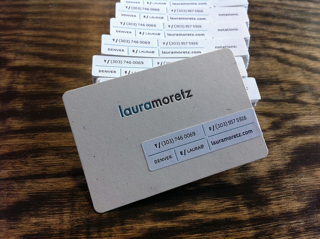 Laura Moretz - die-cut business cards