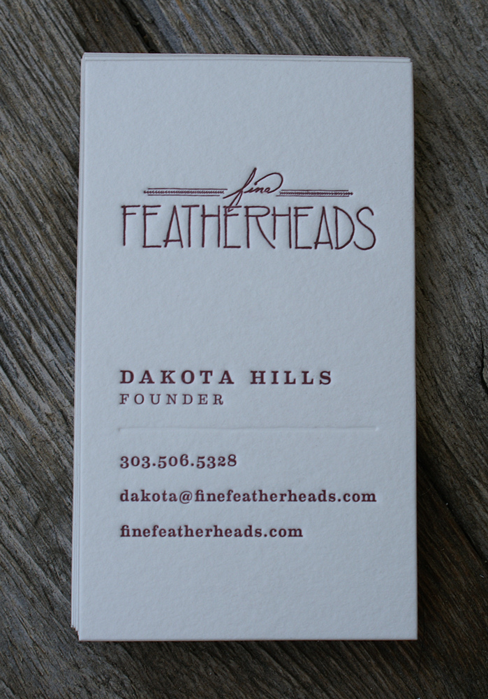 Featherheads - deboss business cards