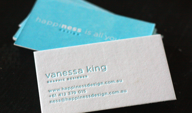 Vanessa King - letterpress business cards