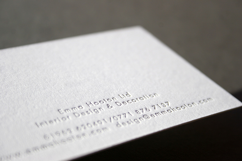 Emma Hooton - letterpress business cards